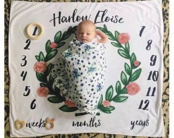 Monthly personalized baby blanket