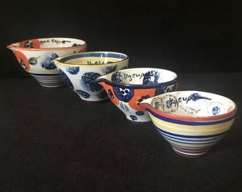 Hand Painted Ceramic Nesting Measuring Cups