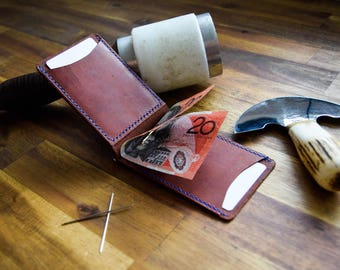 2 OF 2 - A Slim Kangaroo Leather Money Clip Wallet With ID Window - Whiskey Colour