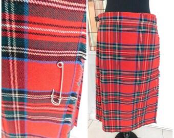 """Vintage Red Scottish Plaid Tartan Pleated Plaid Kilt Skirt Authentic Kilt Ben Nevis Plaid Skirt 30"""" waist"""
