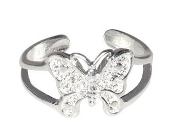ON SALE New 925 Sterling Silver Butterfly Toe Ring adjustable size | Made In USA