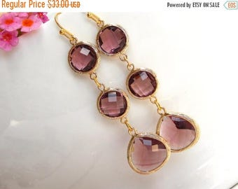 SALE Wedding Jewelry, Plum Earrings, Burgundy Gold,Eggplant Earrings, Bridesmaid Jewelry, Bridal Earrings, Dangle, Long, Bridesmaids Gifts,