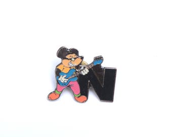 Letter lapel pin, n lapel pin, mouse lapel pin, punk enamel pins, monogram, initial, monogram for him