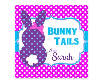 """Custom Easter Bunny Tails Printable 2.5"""" Tags-Happy Easter D.I.Y Tags- Personalized Stickers (You Print) 2.5"""" tags-Digital file"""