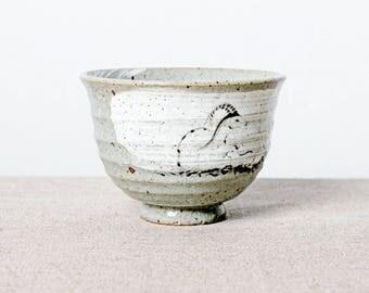 Handmade kiln fired hand painted Japanese ceramic stoneware chawan tea bowl