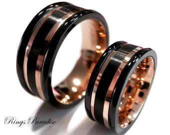 Matching Wedding Rings, Rose Gold Tungsten, Promise Ring, Rose Gold Wedding Bands, Engagement Rings, Tungsten Ring, Bands by Rings Paradise