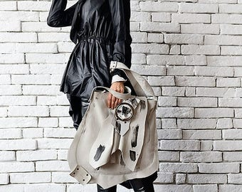 SALE Extravagant Asymmetric White Bag/Genuine Leather Tote/Large White Shoulder Bag/Cross Body Bag with Adjustable Straps/Leather Handmade P