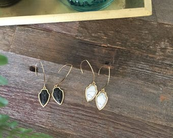 SALE** Black / White Howlite Earrings | Drop Earrings | Howlite Jewelry | Marble Earrings