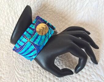 """Wrist cuff 8"""", fiber art bracelet, art to wear cuff, textile art cuff, fiber jewelry, Cuff bracelet, OOAK, Wearable wrist cuff art  #24"""