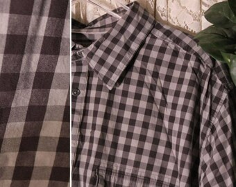 Vintage SHORT SLEEVE SHIRT Size Extra Extra Large Tall 2XLT to 3X xxxl 100-Percent Cotton Golf Business Casual Dress School Gray Plaid Check