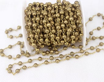 1/3/5 Meter Bronze Style Beaded Chain,Wire Wrapped Beaded Chain for jewelry making