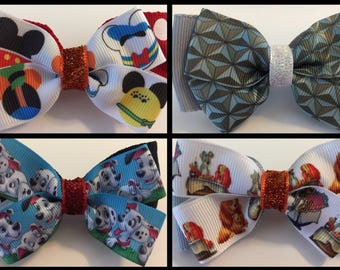 Magic Band Bows Bow Tie Mickey Epcot Lady and the Tramp Dalmatians