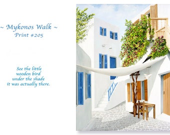 Mykonos Greece Art/patio/door/shutters/blue door/awning/bougainvillea/chair/bird/by Artist/Canvas or Paper/Painting in Print/Standard-Size