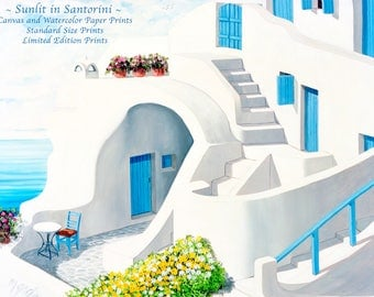 Santorini Art,blue,shutters,gate,door,patio,sea,clouds,geraniums,made by Artist,canvas or paper,prints of  paintings,Realism,standard-size