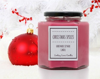 Christmas Spices Scented Candle, Winter Scent, Strong Scented Candle,  Christmas Candle, Christmas Scent, Soy Wax Candle, Jar Candle
