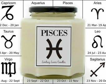 Pisces Horoscope Candle, Star Sign Candle, Horoscope Candle, Gift For Pisces, Zodiac Candle, Zodiac Gift, Pisces Gift, Start Sign Gift