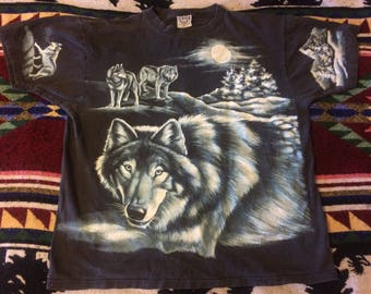 1990s Allover Print Wolf TShirt Size Large