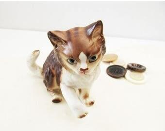 On SALE 10% Off Vintage Hand Painted Ceramic Cat Ornament, Brown White Porcelain Cat Figurine, Retro Cat Sculpture