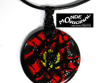 Poppy necklace abstract polymer