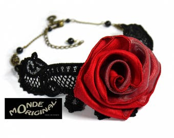Choker necklace red rose evening Black Lace