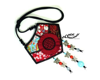 Necklace embroidered Japanese and liberty fabric bib