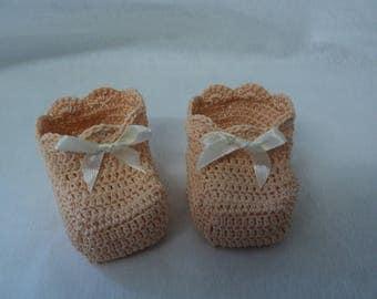 Pair of booties, birth, salmon cotton christening keepsake gift