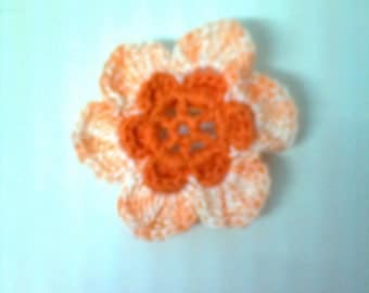 set of 10 crocheted in orange and multicolored cotton crochet flowers