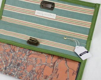 Paper and fabric pouch (City - St Etienne, green)