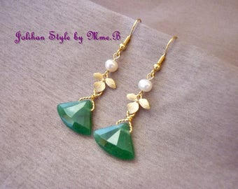 """Little Orchid"" earrings with green jade"