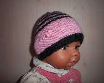 Ideal birth wool cap for maternity (pink/gray).