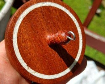 Sapele mahogany drop spindle with  Mother of pearl inlay. OOAK