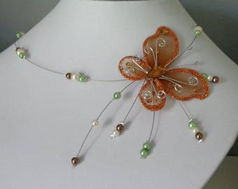 Necklace green pearls ivory Brown Butterfly wire hypoallergenic available on wedding