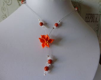 Necklace flower fimo orange Crystal wire hypoallergenic available on wedding