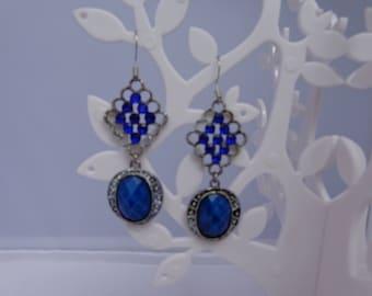 pair of vintage blue rhinestone earrings