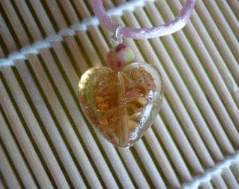 Pendant big transparent heart, glitter flakes Orange and Pearl polymer clay.
