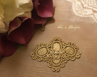 Weddings lace train clip brooch Gold * 3 lace *.