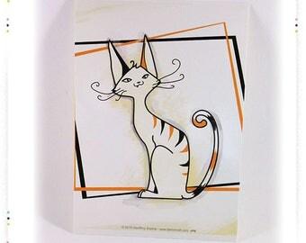 "Postcard illustration ""tabby cat"" card"