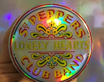 "SGT PEPPERS LONELY Hearts Club Band Beatles 60s psychedelic Lucy In The Sky John Lennon Ringo Paul McCartney George 2.25"" holographic button"