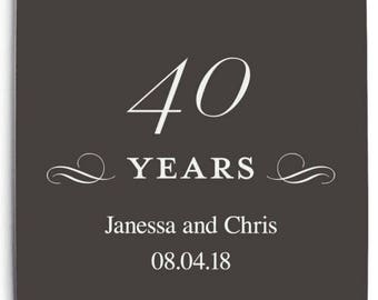 Set of 100 Square Wedding Anniversary Coasters - 40th Anniversary Design - Custom Coasters - Anniversaries - 40 Years - 40th Anniversary