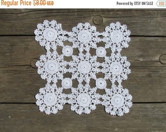 20% OFF ONE Vintage Crochet Doily; White Cotton Crochet Doily; Square Doilies; Unused Cotton Crochet Doily; White Doily; Square Doily; Croch