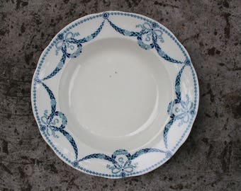 Gustavsberg HANNIBAL Deep Plate Bowl, Gustavsberg Porcelain, White and Blue, 1913 - 1936, Made in Sweden, Collectible
