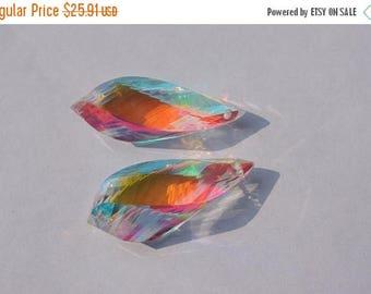 25% OFF 25 Percent OFF 2 Pcs Matched Pair Rainbow Mystic Quartz Faceted Twisted Drops Briolette Size 30*10 MM