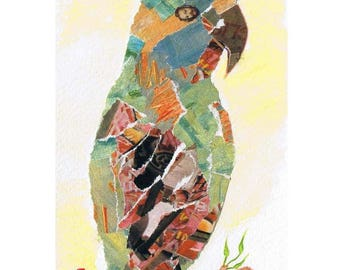 """Painting """"Parrot"""" made only from different collages"""