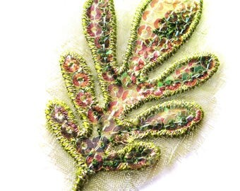 LEAF GREEN PAL EMBROIDERED CHIFFON SEQUIN TRANSFER HOT FIX 45/70 MM