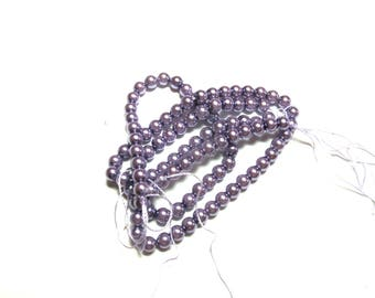 25 BEADS 4MM ROUND GLASS 4 MM LAVENDER COLOR