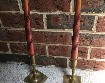 Elegant Brass Candleholders/ Vintage Candlestick holders/ Hollywood Regency Candle