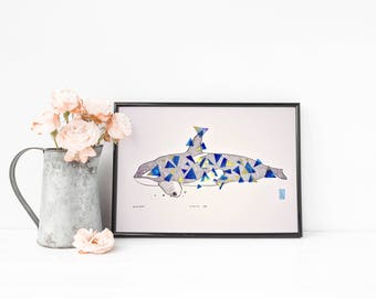 A4 Limited Edition Geometric Killer Whale Print