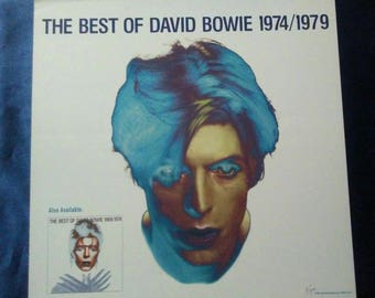 David Bowie Poster the best of David Bowie flat slick Original Record Store promo poster Album Flat NM David Bowie slick Bowie picture RARE!