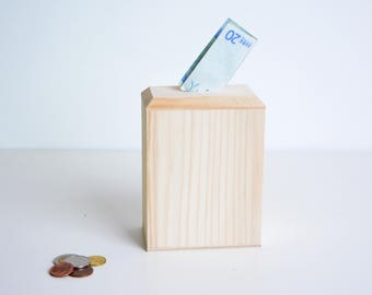 wooden money bank container, DIY money box, money box found, wooden piggy bank wedding money box, baby bank, money container, christmas gift