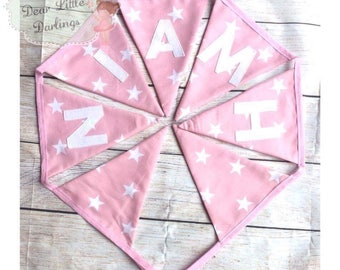 Girls Personalised Bunting, New Baby Bunting, Nursery Bunting, Name Bunting, Pink Bunting, Birthday Bunting, Baby Shower Bunting